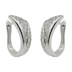 Hoop earrings with stone Silver 925