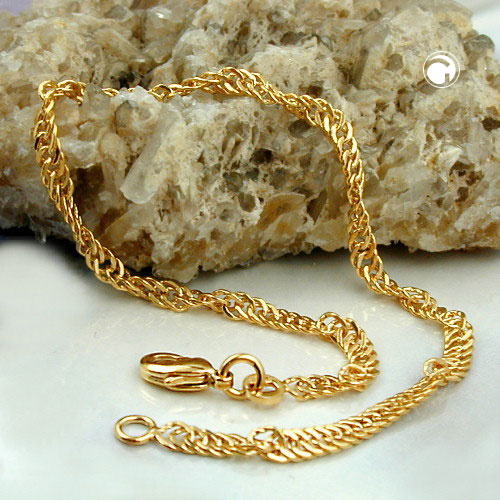 Bracelet, Singapore Chain, Gold Plated