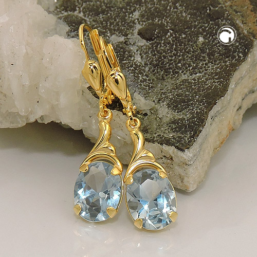 earrings synthetic aquamarine 8K GOLD