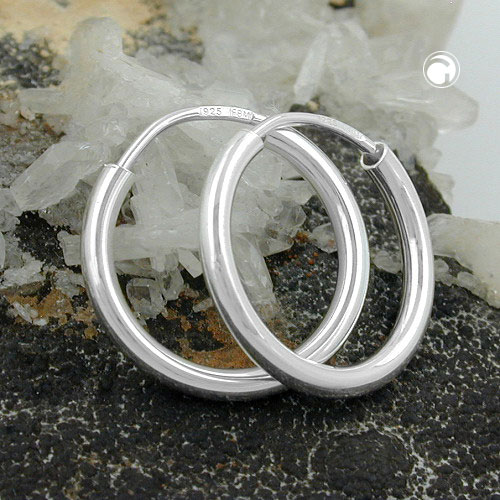 Hoop Earrings, Plain & Thin, Silver 925