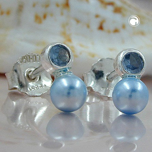 EARRINGS, BEAD AND CZ BLUE, SILVER 925