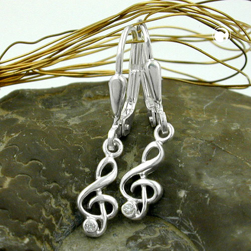 Leverback Earrings, Clef, Zirconia, Silver 925