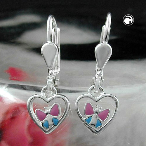Leverback earrings, heart butterfly, silver 925