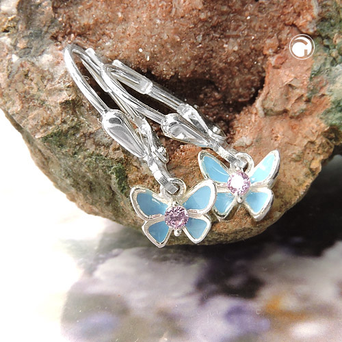 leverback earrings butterfly silver 925