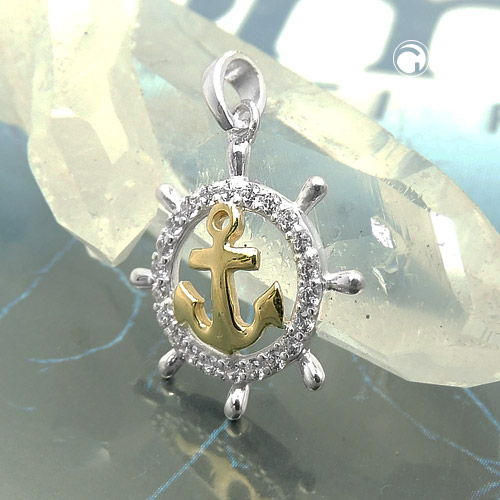 pendant anchor with zirconia, silver 925