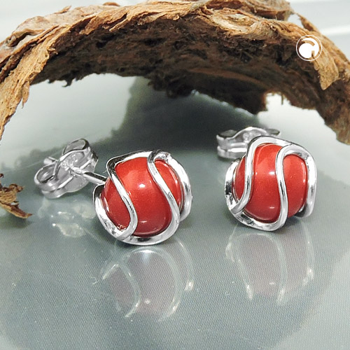 earrings reconstructed coral silver 925