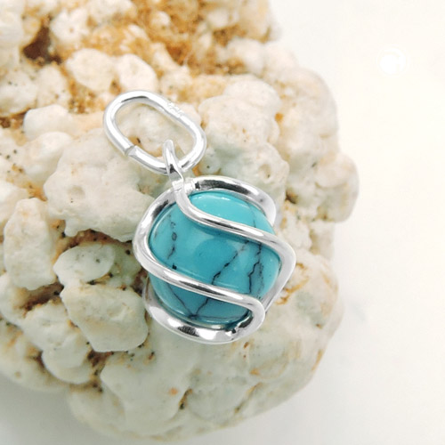 pendant wrapped turquoise silver 925